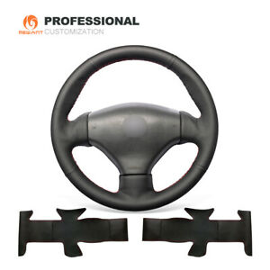 Black Soft Genuine Leather Steering Wheel Cover For Peugeot 206 2003 206 Cc 2005