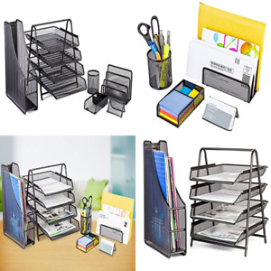 Office Desk Accessories Mesh Organizer 4 Tier File Tray 3 Upright Sections For