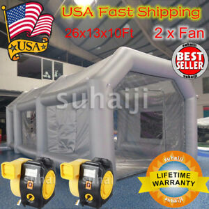 Inflatable Giant Car Workstation Spray Paint Booth Tent 26x13x10ft Grey 2 Fan
