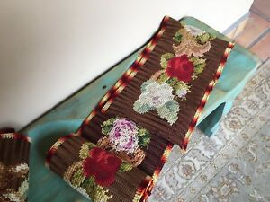 Antique Wall Hanging Tapestry Rose Floral Handwoven Table Runner Crochet Brown