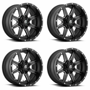 Set 4 22 Fuel Maverick D538 Black Milled Wheels 22x10 8x170 24mm Lifted Ford