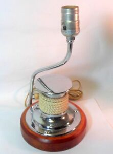 Vtg Nautical Ship Lamp Chrome Maritime Rope Hitching Post 1940 S 50 S