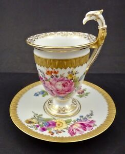 Antique Hirsch Dresden Chocolate Cup Saucer Figural Handle Hand Painted