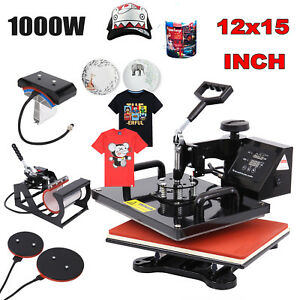 12x15 5 In 1 Heat Press Machine Swing Away Sublimation T shirt Mug Plate Hat