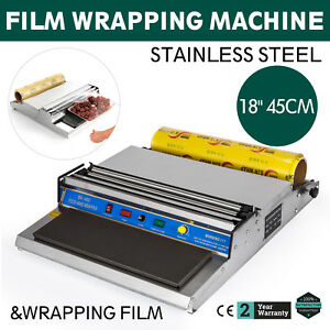 18 Food Tray Film Wrapper Wrapping Machine W film Store Fruit Stainless Steel