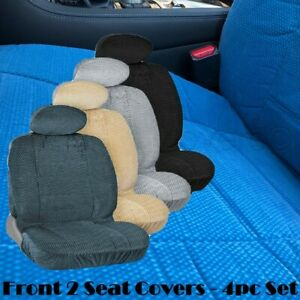 Ch 4pc Front 2 Low Back Bucket Seat Cover Automotive Grade Thick Triple Stitched