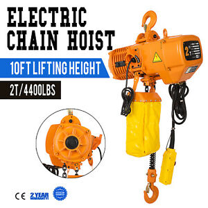 3phases 220v Electric Chain Hoist 10 Lift Height Heavy Duty 4400lbs