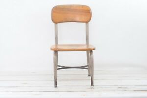 Vintage Heywood Wakefield School Chair Childs Midcentury Stool Wood Metal Chair