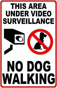 Area Under Video Surveillance No Dog Walking Sign Size Options Dogs Poop Pick