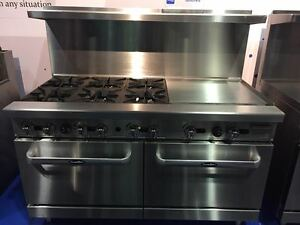 New Heavy 60 Range 6 Burners 24 Griddle 2 Full Ovens Stove Natural Gas Only