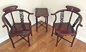Vintage Pair Asian Rosewood Chairs And Table Beautiful Condition No Makers Mark
