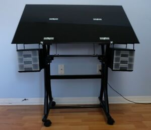 Adjustable Architectural Drafting Table Black Glass Top With 6 Drawers
