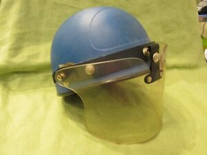 Vintage 1960s Buco Blue Half Shell Police Riot Helmet Face Shield Motorcycle