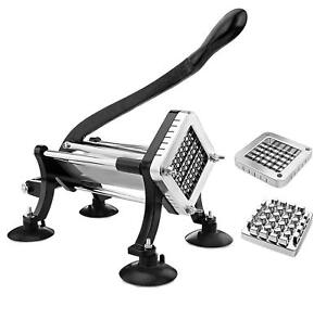 Restaurant Grade French Fry Cutter 1 2in 3 8in Blade Stainless Potato Slicer New