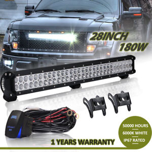 180w 28inch Cree Led Light Bar Combo Two Row Work Lamp 30 32 For Ford Atv
