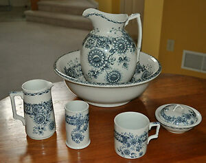 Lovely 6 Piece Victorian Porcelain Pitcher Washbowl Set F Winkle England 1896
