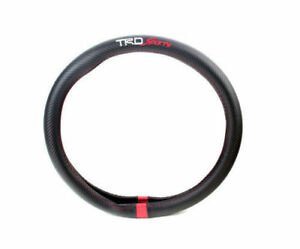 1 X Fit Toyota Sport Carbon Fiber Trd Pro Black Steering Wheel Cover Tundra 38cm