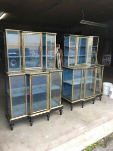 2 Available Price Separate Antique Brass And Ebonized Would Step Back Showcase