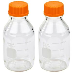Pyrex 500ml Round Media Storage Bottles With Gl45 Screw Cap pack Of 2