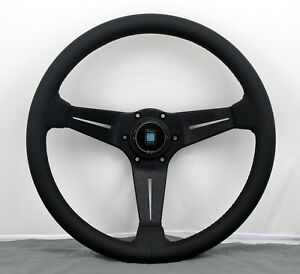 Nardi Steering Wheel Deep Corn 350mm Black Leather Black Stitching Type A Horn