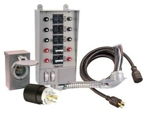 30 Amp 10 circuit Pro tran Transfer Switch Kit Generators Up To 7 500 Run Watts