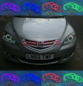 4x Cotton Rgb Led Angel Eyes Halo Rings Drl For Mazda 3 First Generation 2002 07