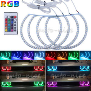 4x Rgb 16 color For Dodge Challenger Headlight Led Angel Eye Halo Ring Demon Drl