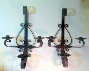 Vintage Pair Wrought Iron Wall Sconces Candle Holders French Italian Chateau