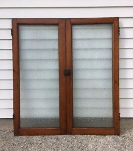 2 Antique Cabinet Doors Embossed Glass Dr Office Cupboard Vintage Pair