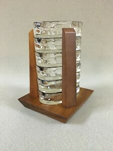 Mcm Danish Teak Wood Holder 6 Glass Ashtray Set Vintage Rare Modern Decor