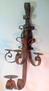 Vintage Large Wrought Iron Wall Sconce Candle Holder French Chateau Villa