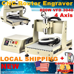 800w 4 Axis 3040 Cnc Router Engraver Milling Drilling Machine Vfd Controller