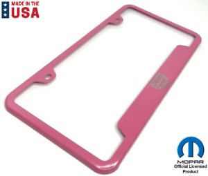Pink License Plate Frame For Jeep Laser Engraved Grille Logo Emblem