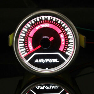 Universal 2 52mm White Led Car Auto Air Fuel Ratio Monitor Gauge Afr Meter Ob1