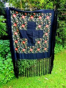 Antique Embroidered Black Silk Piano Scarf Shawl Tablecloth 38 Fringe Canton