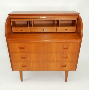 Mid Century Modern Danish Made Teak Roll Top Desk Dresser 35 5