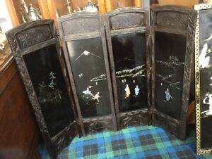 Antique Japanese 4 Fold Screen Inlayed With Mother Of Pearl