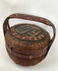 Small Antique Chinese Weaved Basket With Lid And Handle 4 25 Green