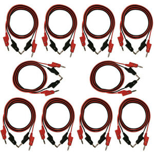 10 Pack Of Red And Black Banana To Banana Test Lead Sets 18 Gauge 36 Length