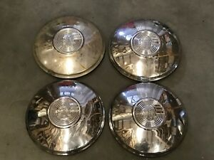 1 Set Of 4 Vintage Pontiac Dog Dishes Hubcaps 10 outer Edge 8 Inner Edge