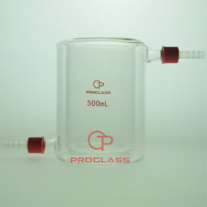 Proglass Glass 500ml Jacket Beaker With Removable Hose Connector