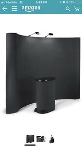 Displays2go 10 Ft Curved Pop Up Tradeshow Display Booth With Podium Travel Case