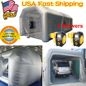 26ft Inflatable Paint Tent Spray Paint Booth Giant Car Workstation 2 Fan Spray