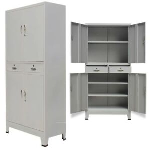 Steel Office Storage File Cabinet Locker Cupboard With 4 Doors 35 4 x15 7 x70 9