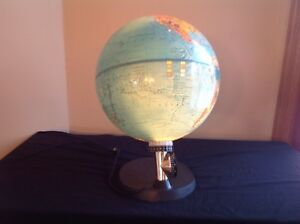 Lighted World Globe 1983 Scan Globe A S Denmark About 12 In Diameter