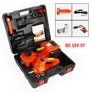 Electric Hydraulic Car Jack And Impact Wrench Set Dc 12v 5t 3in 1 Auto Lifting