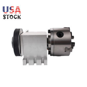 Hollow Shaft 4th Axis 3 Jaw 100mm Chuck Cnc Engraver Rotary Table tailstock Us