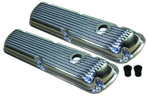 Classic Sb Ford Polished Aluminum Short Finned Valve Covers 289 302 351w Sbf V8