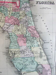 Florida State By County 1887 Mitchell Bradley Large Old Map Hand Colored