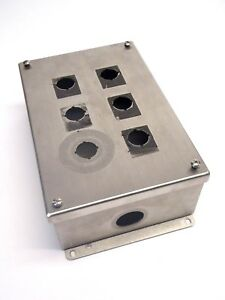 Hoffman E6pbgss Stainless Steel 6 Pushbutton Control Enclosure